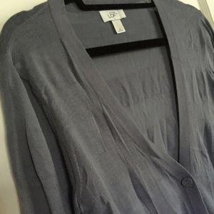 LOFT Striped V-Neck Cardigan, Lavender, Medium